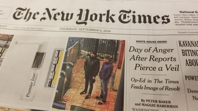 The front page of the National Edition of the New York Times on Sept. 6, 2018, references the anonymous op-ed about Donald Trump's administration that was published the day before.