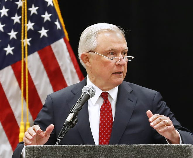 U.S. Attorney General Jeff Sessions speaks at the 2018 Indiana Law Enforcement Conference at the Indianapolis Marriott East, Thursday, Sept. 6, 2018.