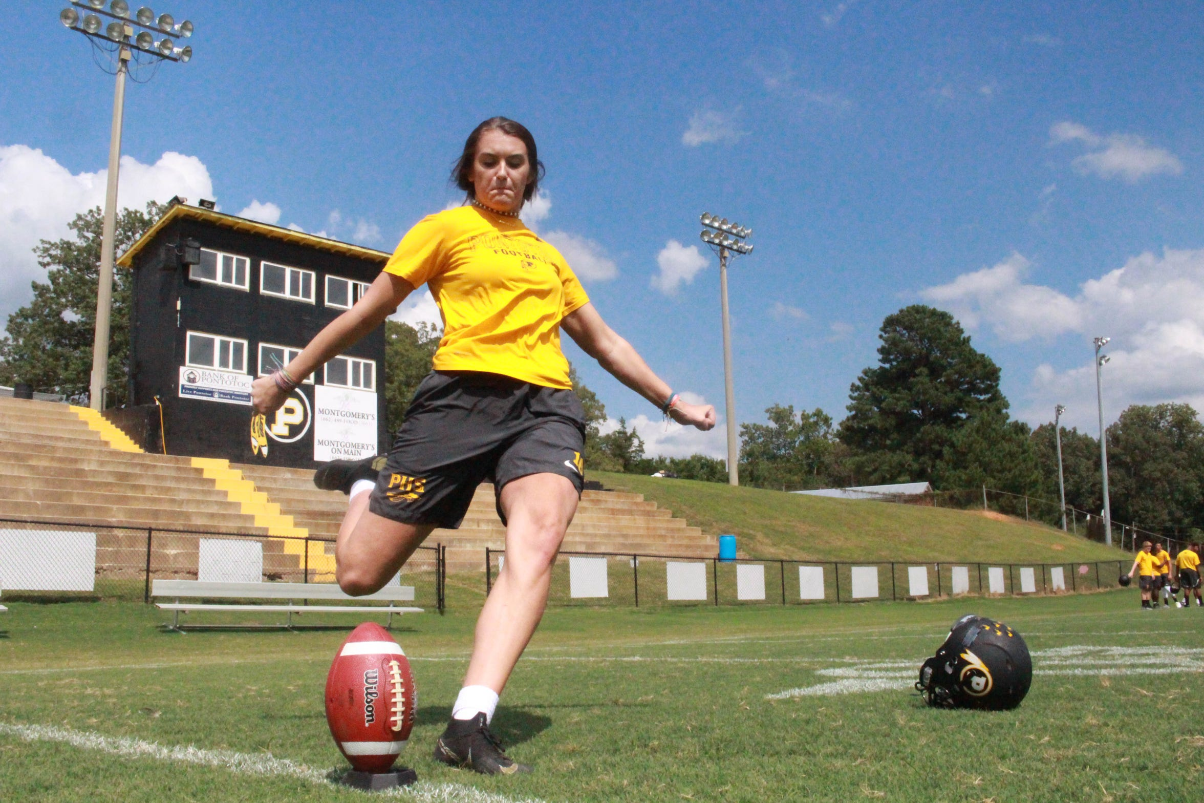 Pontotoc kicker Taylor Hughes practices kickoffs at Pontotoc High School on Aug. 27, 2018.