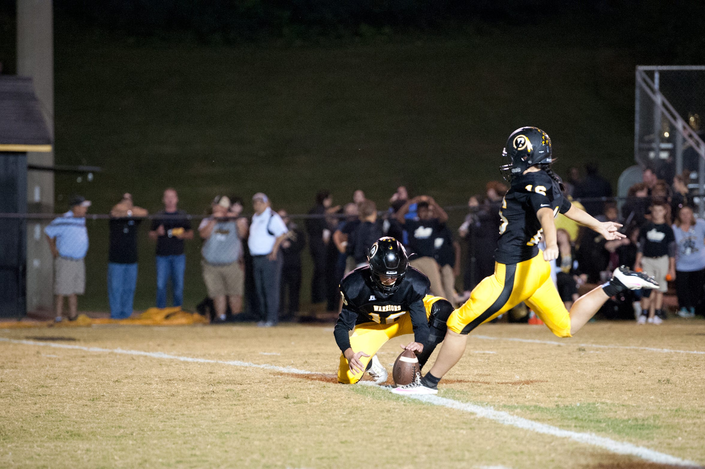 Pontotoc kicker Taylor Hughes attempts a field goal during a game against Amory High School at Pontotoc High School on Oct. 6, 2017.