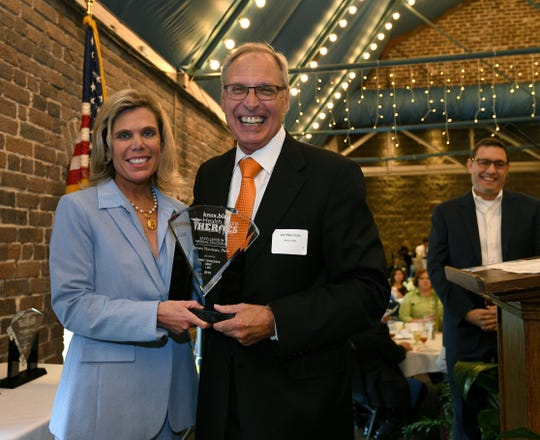 Jim Neutens is honored at the Knox.biz Health Care Heroes luncheon Thursday, Sept. 6, 2018, at the Foundry.
