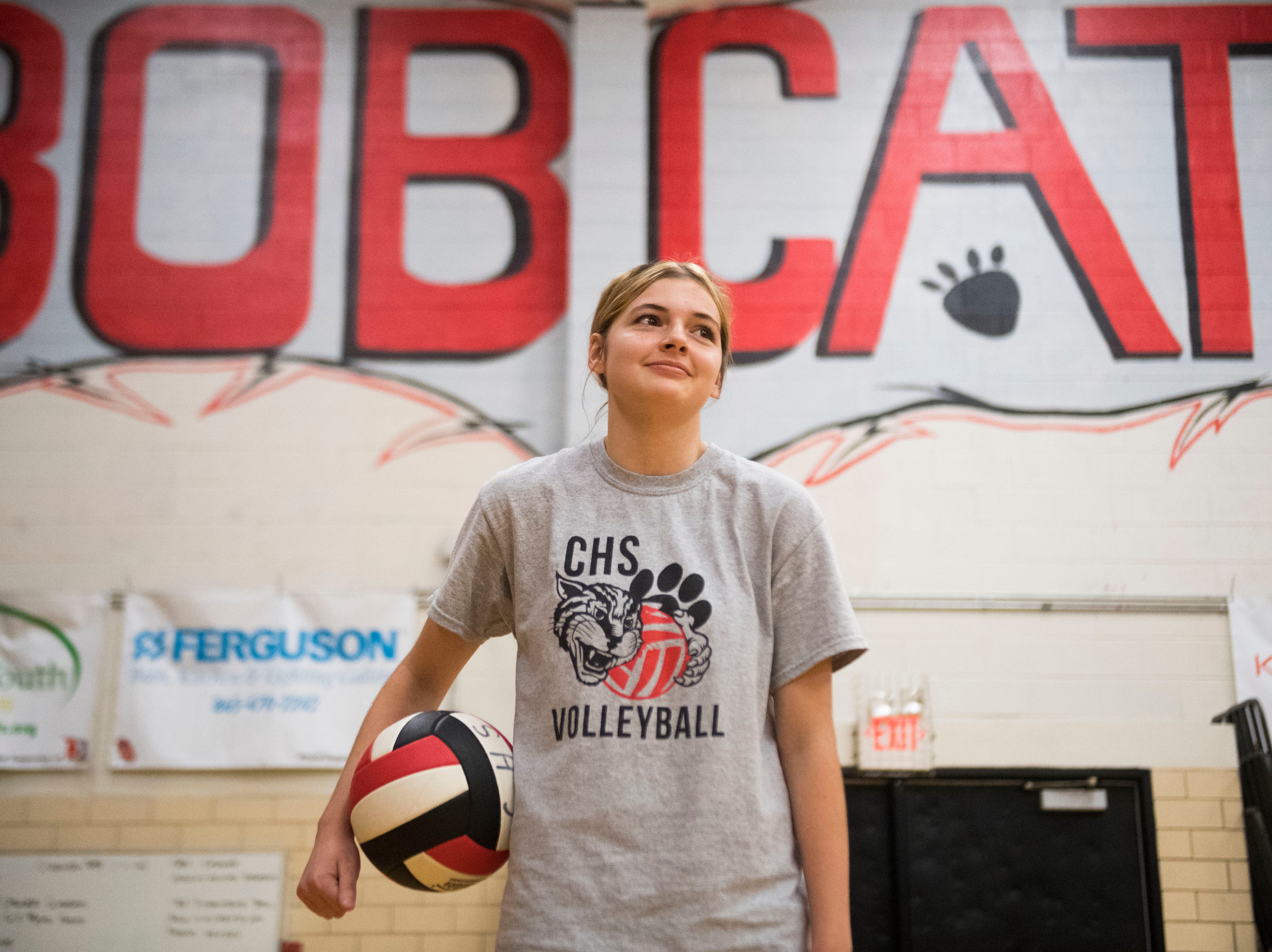 Sophomore Hannah Vogt poses for a portrait at a Central High School girls volleyball practice in the school gym Wednesday, Sept. 5, 2018. Hannah joined the team this season after girls volleyball coach Lorri Johnson discovered her in a special education class Johnson was a teachers aide in.