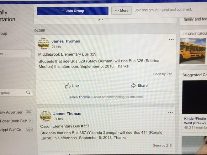 This is a look at the new LPSS Daily Transportation Report Facebook group.
