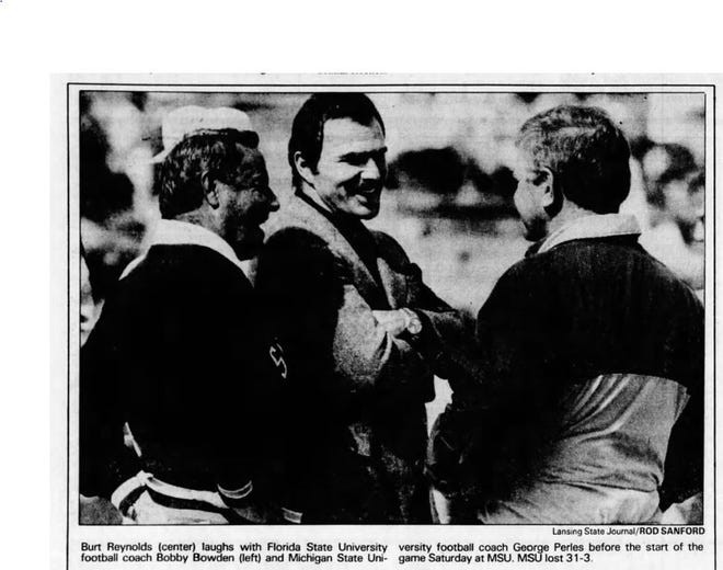 Actor Burt Reynolds, born in Lansing, died Wednesday. He was 82. Reynolds visited Lansing in 1987 and attended an MSU football game.