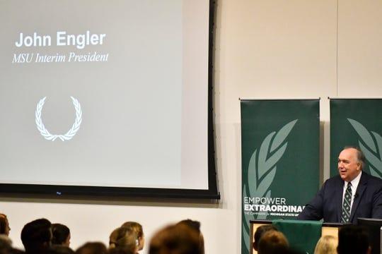 Interim President of Michigan State University John Engler speaks Thursday, Sept. 6, 2018, about the $30 million gift from alumnus and real estate devloper Edward Minskoff.