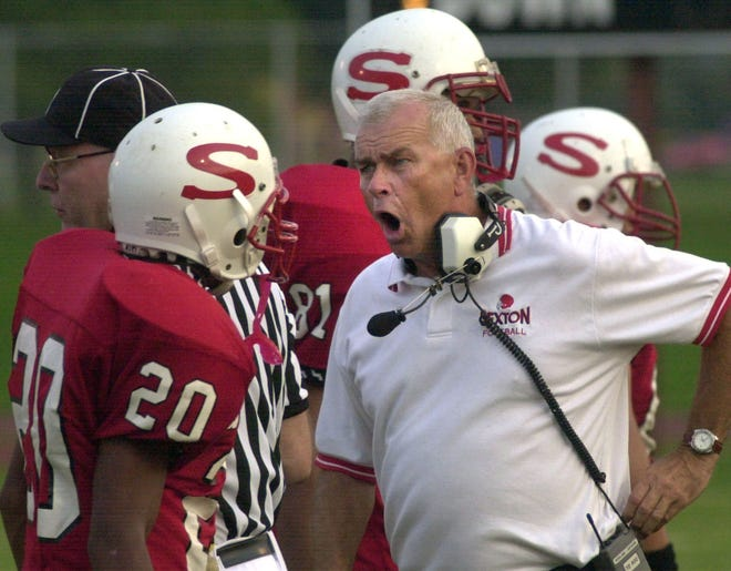 Former Sexton football coach Bob Meyers, shown in the sidelines in 2000, is part of the school's latest athletic hall of fame class.