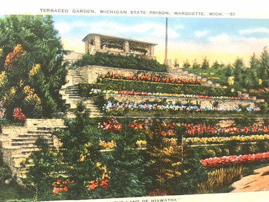 """A postcard of gardens at Marquette State Prison is part of the new exhibit """"States of Incarceration"""" opening Saturday, Sept. 8, 2018 at the Michigan History Center."""
