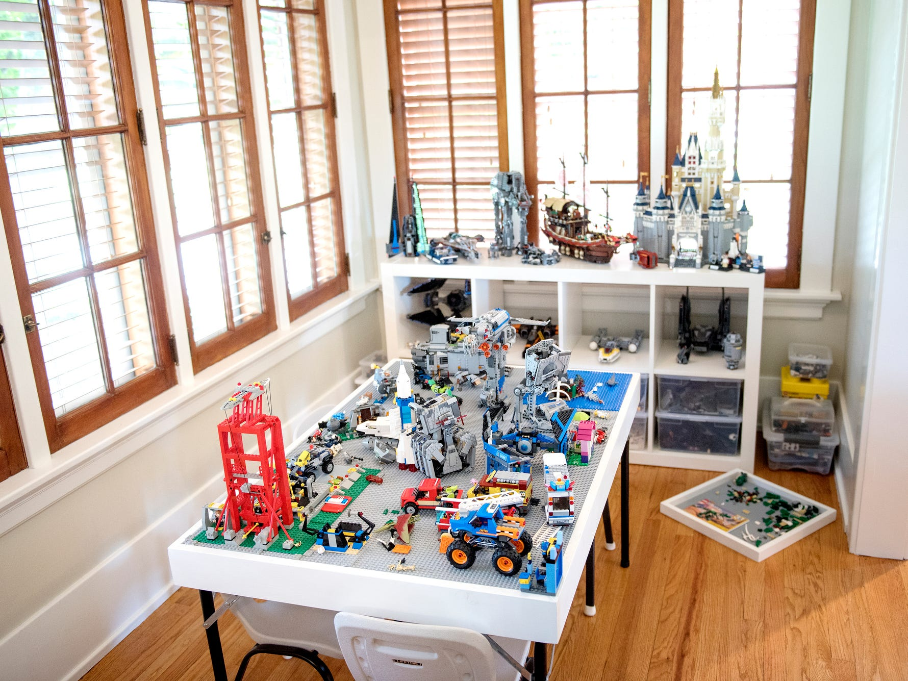 Originally a music room, the Purchases converted it into a LEGO room inside their Moores River Drive home on Thursday, Sept. 5, 2018, Lansing. The home is one of five homes that will be featured on the Sept. 16 Lansing Area Historical Home Tour.