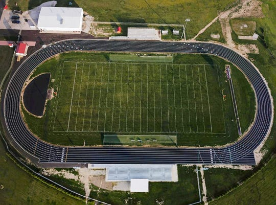 An aerial view of Plymouth's new all-weather track.