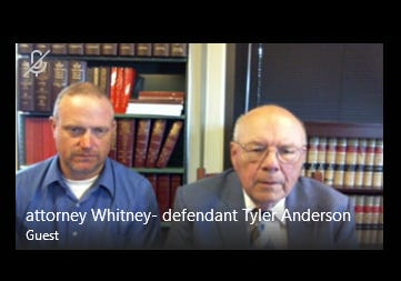 Tyler Anderson and defense attorney Robert Whitney appear by Skype for Anderson's arraignment.