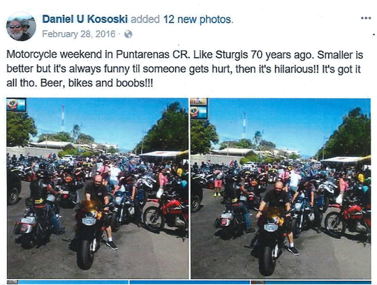 Daniel Kososki's comments on a Harley ride in Costa Rica