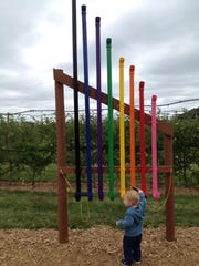 The apple tree maze at Royal Oak Farm Orchard has activity stations throughout.