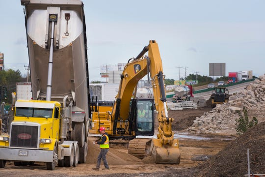 Construction work continues Thursday on I-94 in Caledonia.