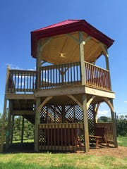 There's an observation tower inside the apple tree maze at Royal Oak Farm Orchard.