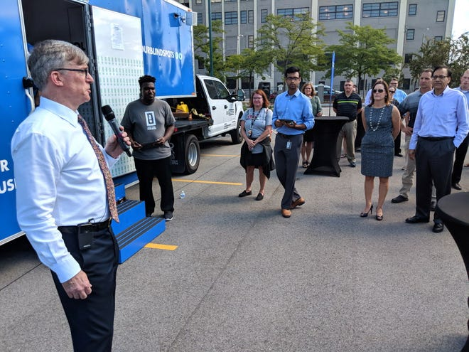 """Rockwell Automation Inc. CEO Blake Moret brought the """"Check Your Blind Spots"""" mobile tour to Milwaukee to help build awareness of unconscious biases in the workplace. --- Steve Jagler / Milwaukee Journal Sentinel"""