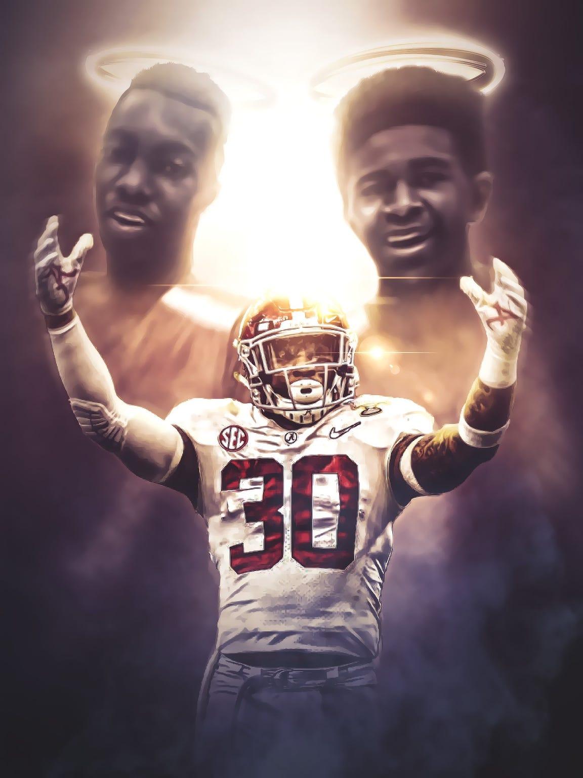 Randall Cotton created tribute to the memory of Rod Scott and Shaq Johnson for Alabama junior Mack Wilson.