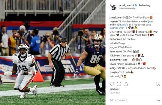 Auburn cornerback Jamel Dean recorded the first interception of his college career against Washington on Saturday, Sept. 1, 2018, in Atlanta.