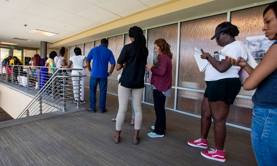 Alabama State University students stand in line to deal with financial aid on the ASU campus in Montgomery, Ala., on Tuesday August 28, 2018.