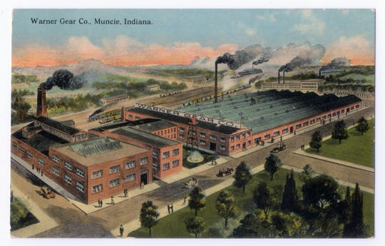 A postcard shows the Warner Gear factory circa 1910.
