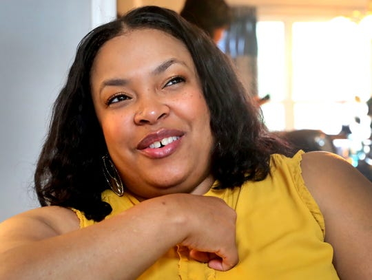 Michelle Roberts the mother of Michael Lee Roper recounts stories of happier times with her son Roper, on Thursday, Sept. 6, 2018,. Roper was shot and killed this past Saturday in Murfreesboro.