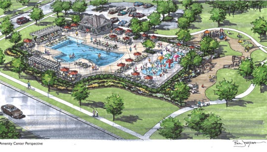 This sketch shows the amenities in a new plan for the proposed Forest Park development in Hendersonville.
