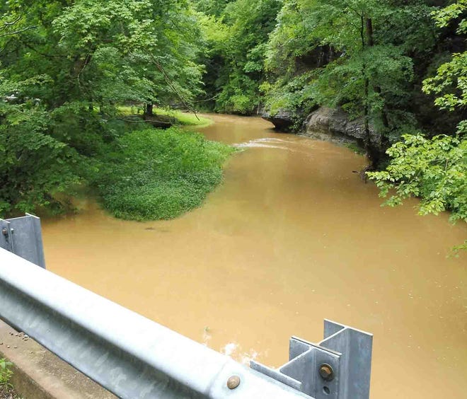 This photo of Caney Fork Creek in Fernvale clearly shows the siltation pollution of the once pristine water way.