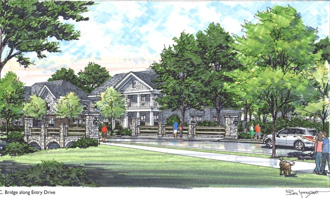 This sketch shows the entrance for the proposed Forest Park development in Hendersonville.