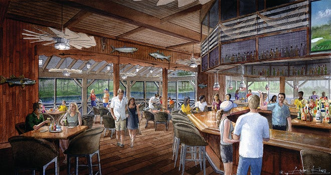 The Overlook Bar & Grill will include a large U-shaped bar, and dining table seating. Tiki torch gas lighting will enhance outdoor dining in the evening.