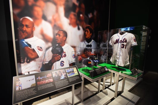 """A general scene of the Mets section at the new special exhibition """"Comeback Season: Sports After 9-11"""" at the 9-11 Museum in New York on 09/06/18."""