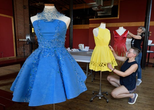 """""""All of these are meant to be worn,"""" said artist and designer Rose Orelup, foreground."""