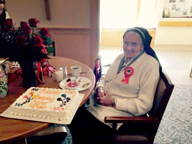 St. Clare's former administrator Sister Mary Urban Harrer at her 102nd birthday party on March 2.