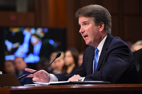 Sep 5, 2018; Washington, DC, USA; Supreme Court Associate Justice nominee Brett Kavanaugh appears before the Senate Judiciary Committee during his confirmation hearing.