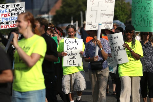 Approximately two dozen people came to Liberty State Park in Jersey City to protest Hudson County's contract with ICE.  They chose the time and location due to the fact New Jersey Democrats were holding a fundraiser across the street at the time. Thursday, September 6, 2018