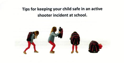 253b94fc663c A tip sheet from a commercially available bullet-proof Kevlar backpack  meant for children to