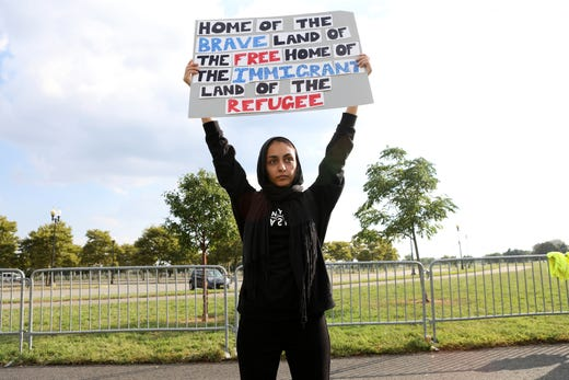 Mona Ahmed, 25, of Woodbridge, was one approximately two dozen people who came to Liberty State Park in Jersey City to protest Hudson County's contract with ICE.  They chose the time and location due to the fact New Jersey Democrats were holding a fundraiser across the street at the time. Thursday, September 6, 2018