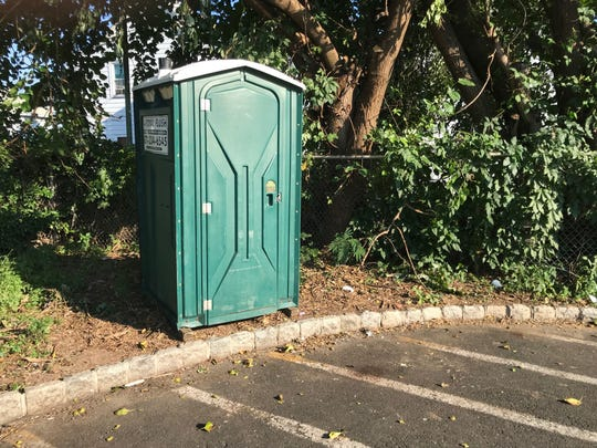 One of two public toilets the city of Clifton has placed to try and combat public defecating and urination by the region's homeless.  This one is located in Municipal Lot 3 off Lake Avenue in the Botany Section.