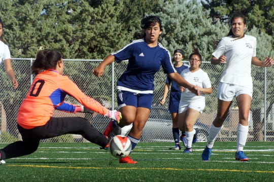 Deming junior Daniela Aguirre was persistent in front of the Santa Teresa goal. She finally scored a goal midway through a sudden-death overtime period.