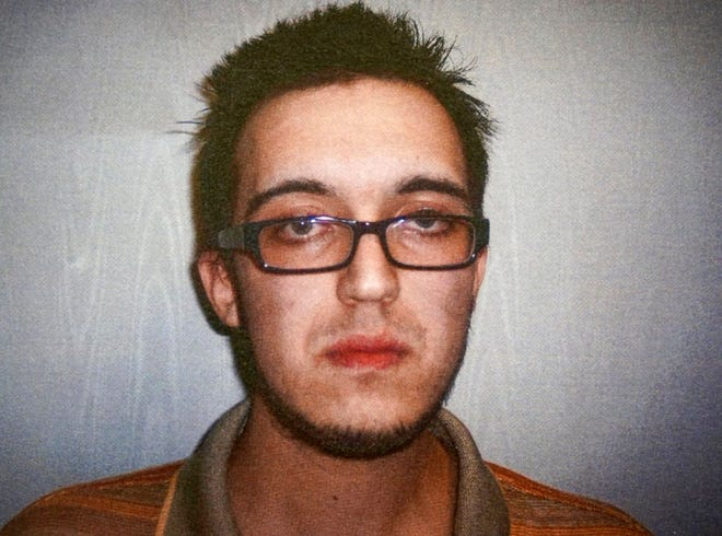 This April 14, 2014, file booking photo released by the North Berkshire District Court in North Adams, Mass., shows Alexander Ciccolo, after he was charged with drunken driving. Ciccolo, son of a Boston police captain, was arrested July 4, 2015, in Adams, Mass., and accused of plotting an attack on a college campus in support of the Islamic State group. Ciccolo, who pleaded guilty, is set to be sentenced in federal court on Wednesday, Sept. 5, 2018, in Springfield, Mass.
