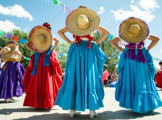 Members of Ballet Folklorico Quetzalcoatl la Academia Dolores Huerta prepare to perform in Mesilla's historic plaza in 2017.