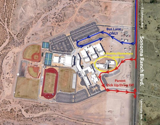Las Cruces Public Schools provided this overhead view showing pickup and dropoff locations for Columbia Elementary students during their stay at Centennial High School