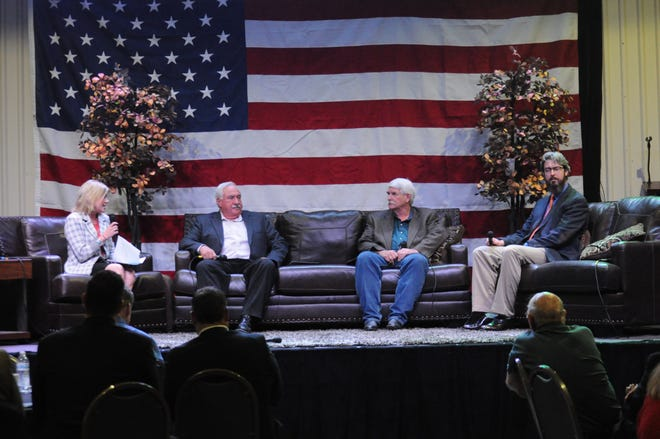 Pictured are Missi Currier, Dave Sepich, Kenney Rayroux and Jeff Patterson on a panel at the Sep. 6 Mayor's Energy Summit in Carlsbad, New Mexico.