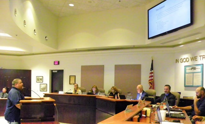 City of Alamogordo Parks Supervisor Erik Marion presents the Parks Department's five-year plan at the Aug. 28 regular city commission meeting.