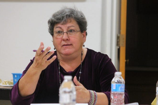 In this 2016 file photo, APS Superintendent Adrianne Salas talks to state legislators about the district's needs. Salas submitted her resignation Sept. 5, 2018.