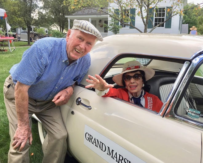 Bob Smith, organizer of the classic car show at the Franklin Round Up, drove grand marshal Madeline Haddad in the parade. She was celebrating her 96th birthday Labor Day.