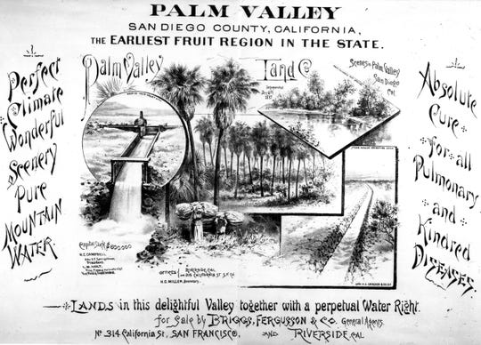 A 1887 brochure advertising the wonders of Palm Valley (later Palm Springs).