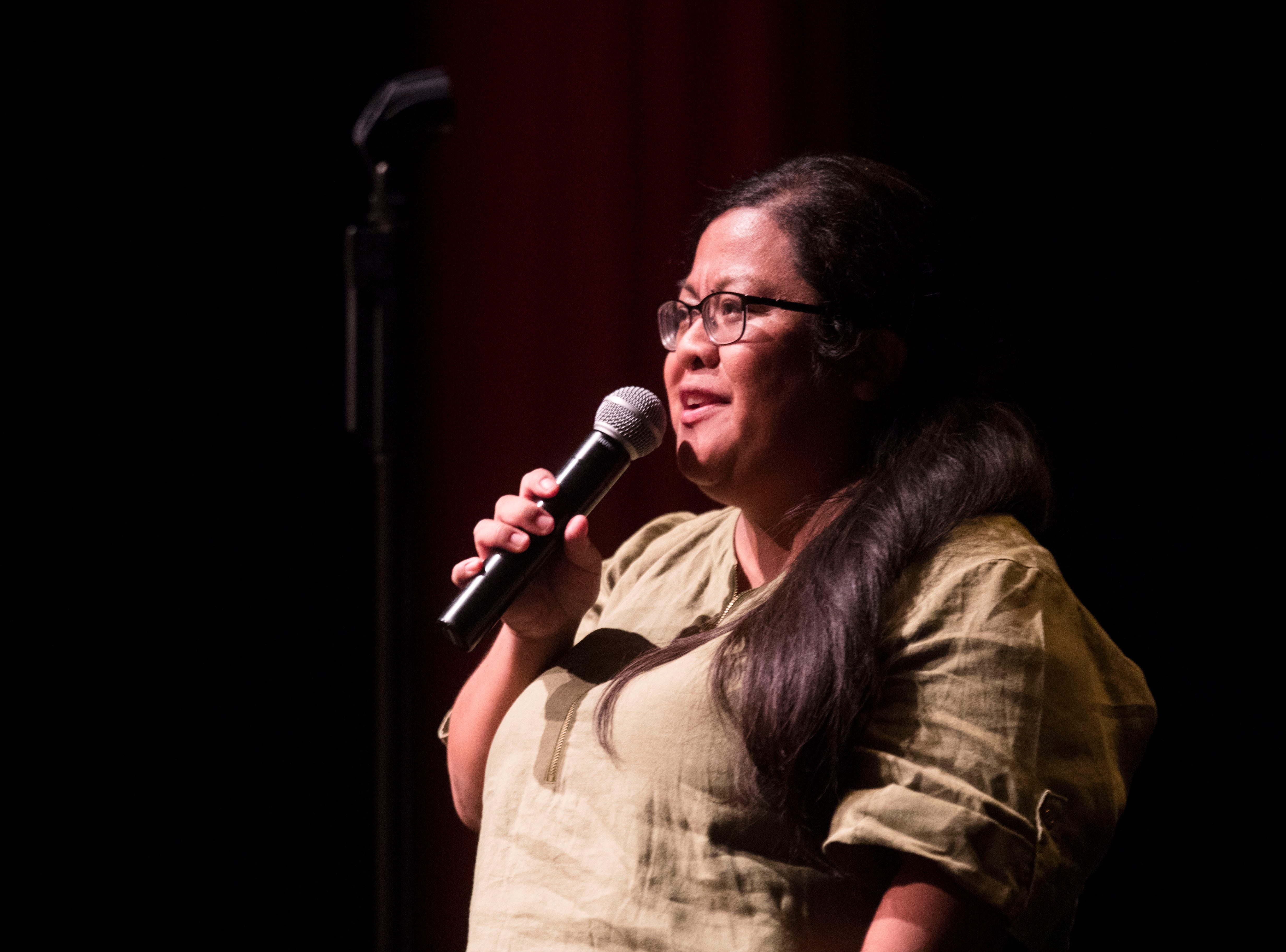 Michelle Castillo shares her story during The Storytellers Project at the Palm Springs Art Museum on September 5, 2018.
