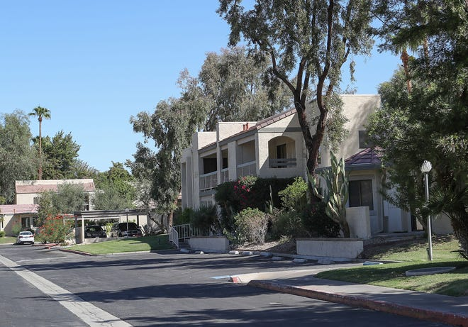 This photo shows the Riviera Gardens complex in Palm Springs. A series of burglaries happened this year at the complex on Vista Chino and a suspect is expected to plead guilty to multiple counts of thefts.