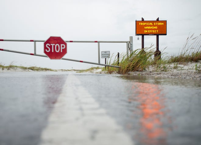 The road to Fort Pickens is closed as Tropical Storm Gordon leaves Pensacola on Wednesday, September 5, 2018.