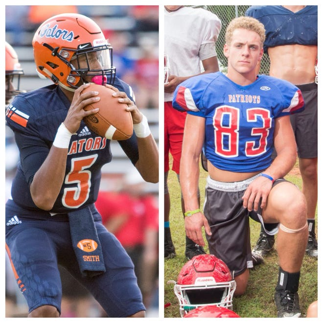 PNJ Offensive Player of the Week Escambia's AV Smith, left, and PNJ Defensive/Special teams Player of the Week Pace's Earin Holland, right.