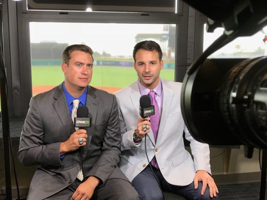 Pensacola Blue Wahoos announcer Tommy Thrall, left, will make his major league broadcast debut this weekend with the Cincinnati Reds, filling in for Marty Brennaman. Chris Garagiola, right, will be handling Blue Wahoos playoff games.